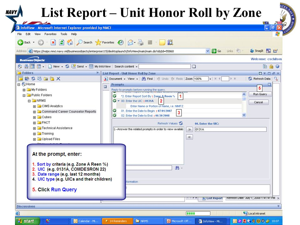 10 List Report – Unit Honor Roll by Zone