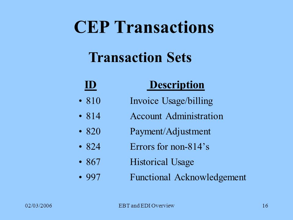 02/03/2006EBT and EDI Overview15 SOP Transactions ID Description Aggregated Billing Information Transaction Set