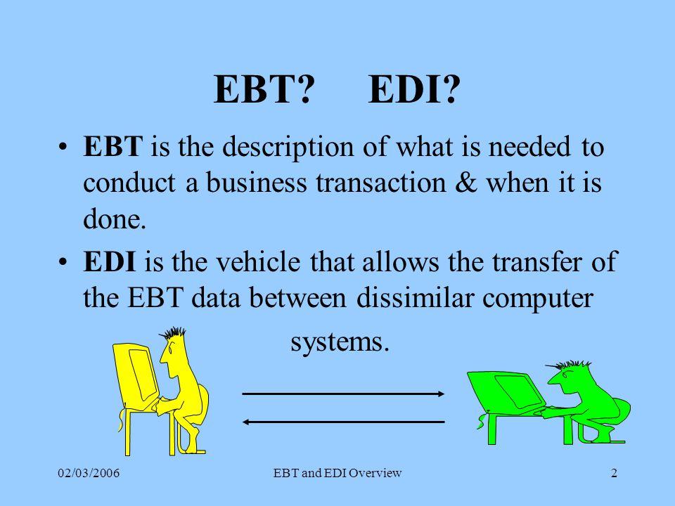 02/03/2006EBT and EDI Overview2 EBT.EDI.