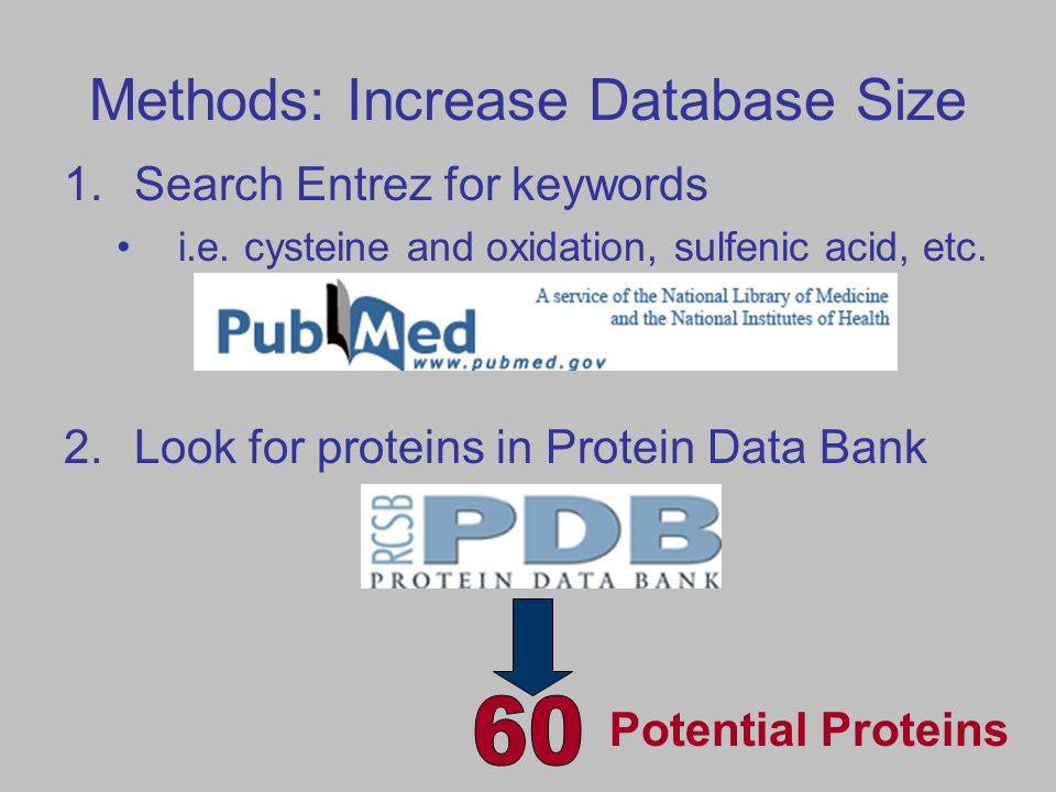 Methods: Increase Database Size 1.Search Entrez for keywords i.e.