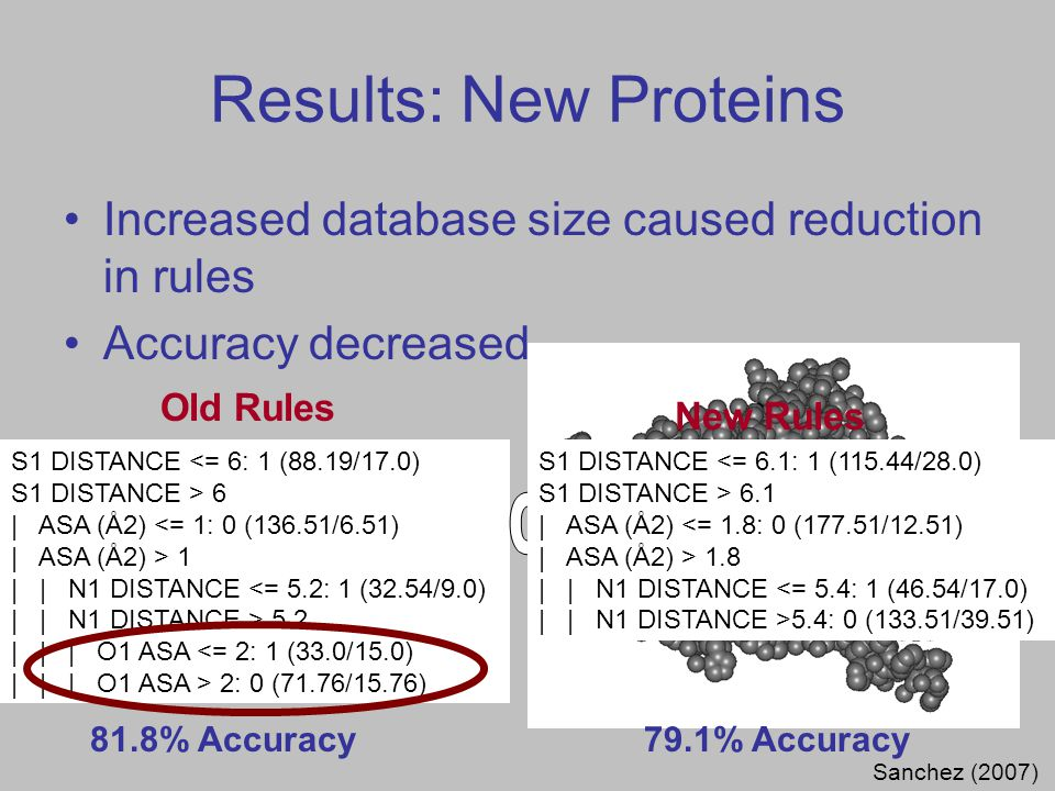 Results: New Proteins S1 DISTANCE <= 6: 1 (88.19/17.0) S1 DISTANCE > 6 | ASA (Å2) <= 1: 0 (136.51/6.51) | ASA (Å2) > 1 | | N1 DISTANCE <= 5.2: 1 (32.54/9.0) | | N1 DISTANCE > 5.2 | | | O1 ASA <= 2: 1 (33.0/15.0) | | | O1 ASA > 2: 0 (71.76/15.76) 6Å6Å + 5.2Å - Sanchez (2007) Increased database size caused reduction in rules Accuracy decreased Old Rules New Rules S1 DISTANCE <= 6.1: 1 (115.44/28.0) S1 DISTANCE > 6.1 | ASA (Å2) <= 1.8: 0 (177.51/12.51) | ASA (Å2) > 1.8 | | N1 DISTANCE <= 5.4: 1 (46.54/17.0) | | N1 DISTANCE >5.4: 0 (133.51/39.51) 81.8% Accuracy79.1% Accuracy