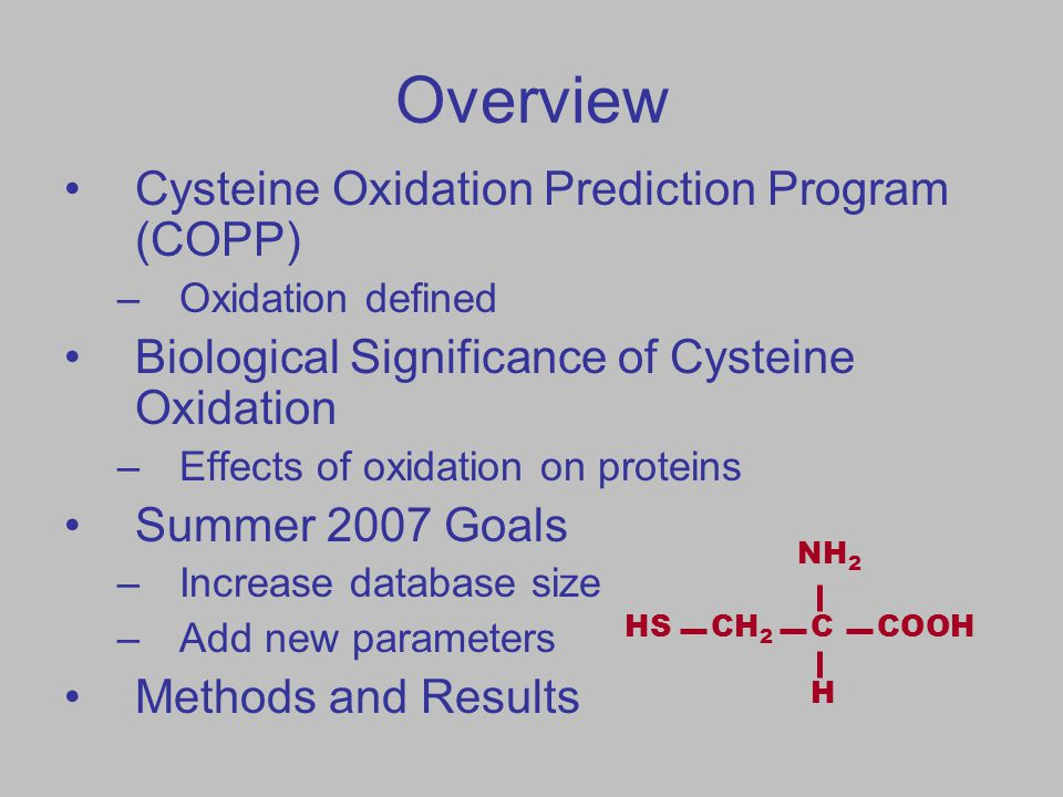 Overview Cysteine Oxidation Prediction Program (COPP) –Oxidation defined Biological Significance of Cysteine Oxidation –Effects of oxidation on proteins Summer 2007 Goals –Increase database size –Add new parameters Methods and Results HSCH 2 CCOOH H NH 2
