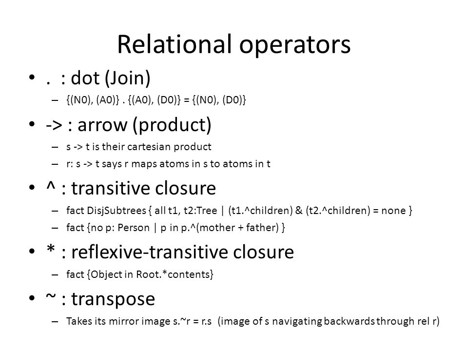 Relational operators. : dot (Join) – {(N0), (A0)}.