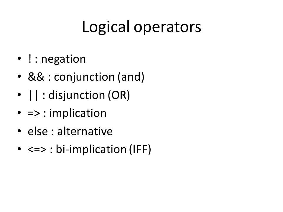 Logical operators .