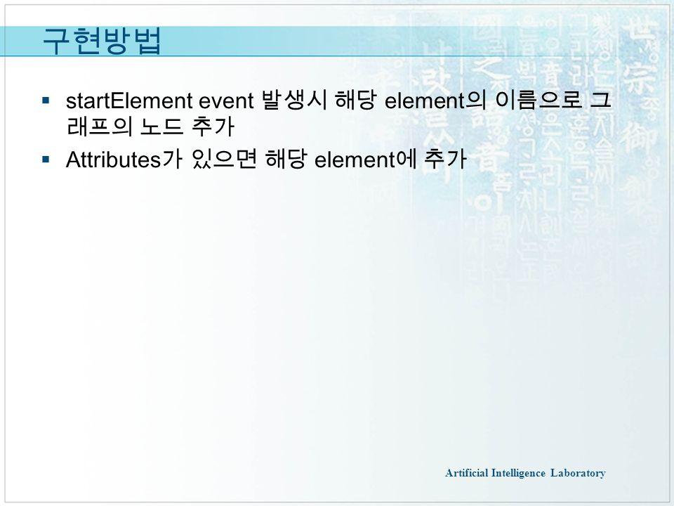 Artificial Intelligence Laboratory 구현방법  startElement event 발생시 해당 element 의 이름으로 그 래프의 노드 추가  Attributes 가 있으면 해당 element 에 추가