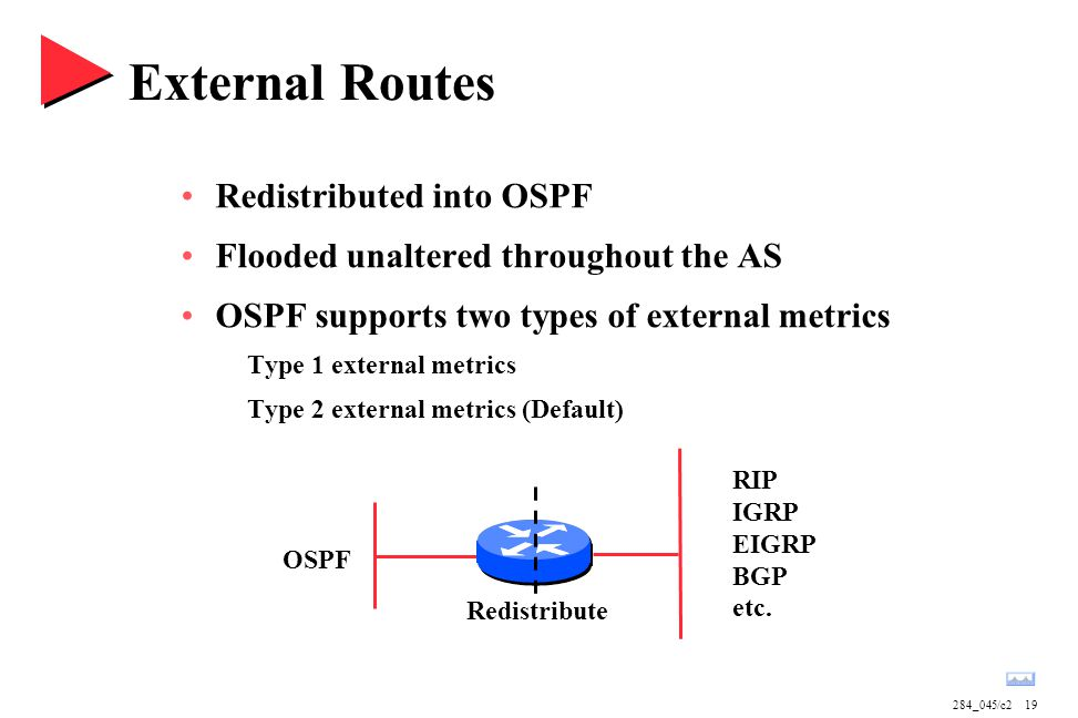 284_045/c219 External Routes Redistributed into OSPF Flooded unaltered throughout the AS OSPF supports two types of external metrics Type 1 external m