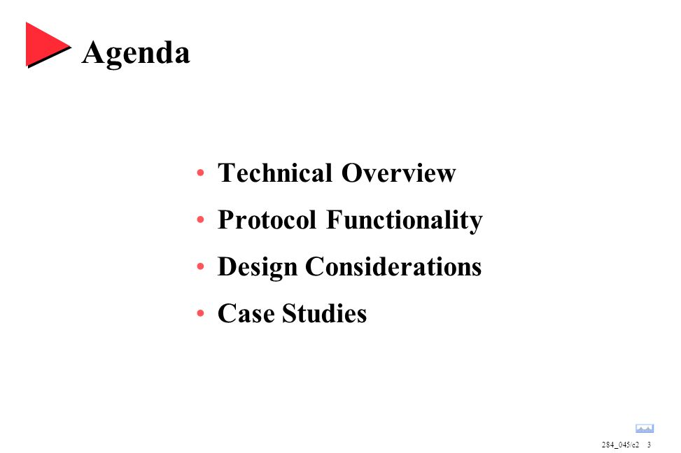 284_045/c23 Agenda Technical Overview Protocol Functionality Design Considerations Case Studies