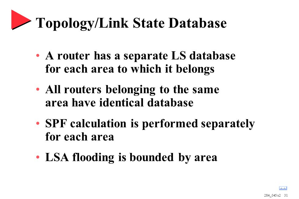 284_045/c231 Topology/Link State Database A router has a separate LS database for each area to which it belongs All routers belonging to the same area