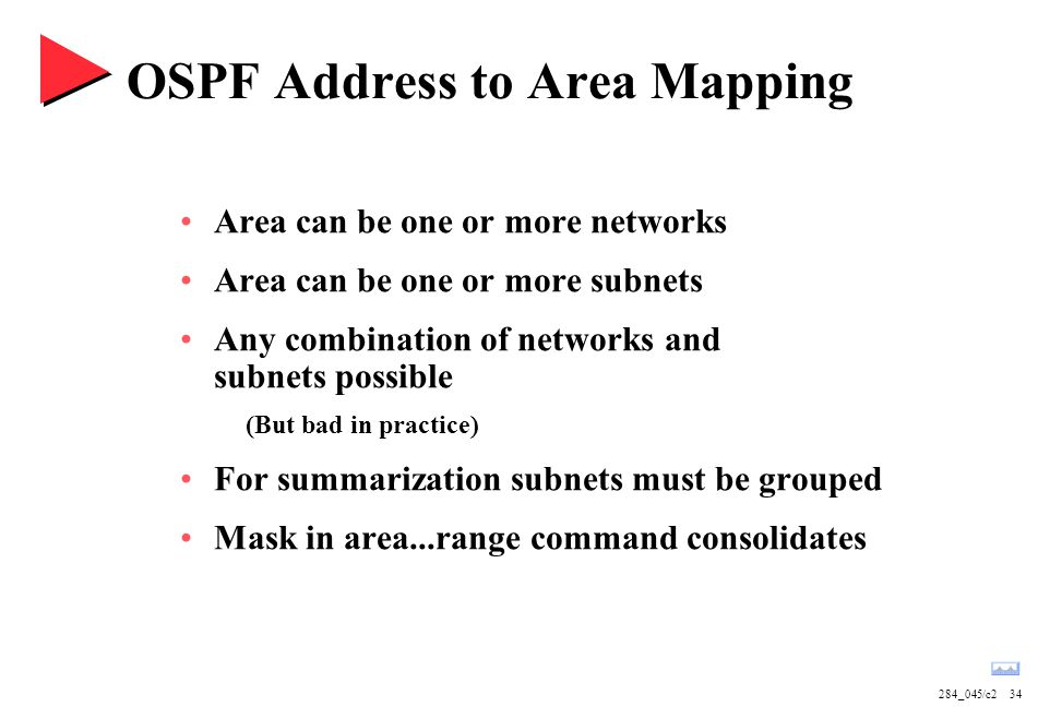284_045/c234 OSPF Address to Area Mapping Area can be one or more networks Area can be one or more subnets Any combination of networks and subnets pos