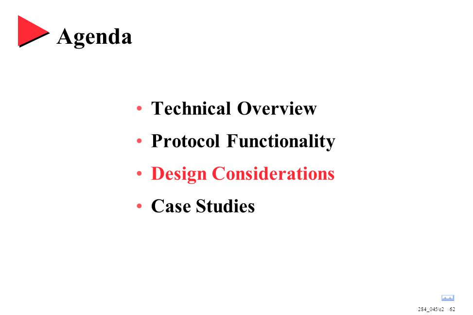 284_045/c262 Agenda Technical Overview Protocol Functionality Design Considerations Case Studies