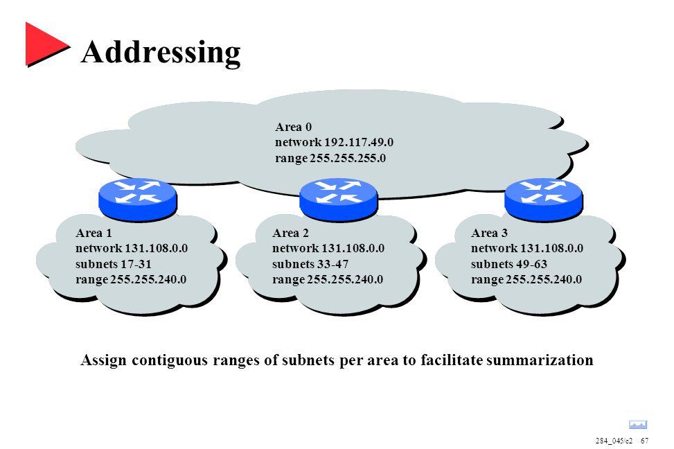 284_045/c267 Addressing Area 1 network 131.108.0.0 subnets 17-31 range 255.255.240.0 Area 2 network 131.108.0.0 subnets 33-47 range 255.255.240.0 Area