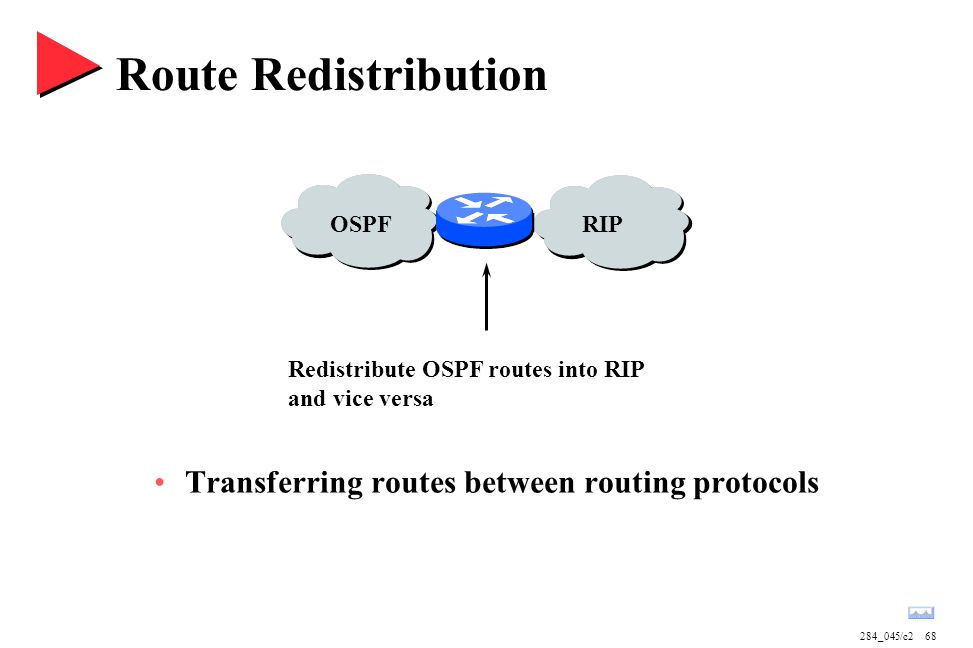 284_045/c268 OSPFRIP Route Redistribution Transferring routes between routing protocols Redistribute OSPF routes into RIP and vice versa
