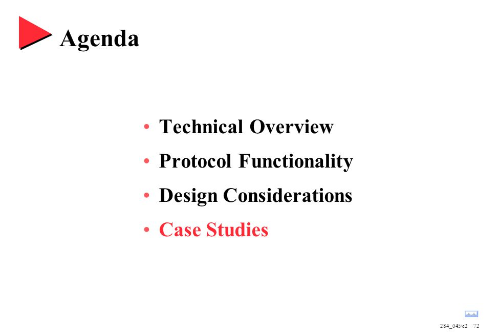 284_045/c272 Agenda Technical Overview Protocol Functionality Design Considerations Case Studies