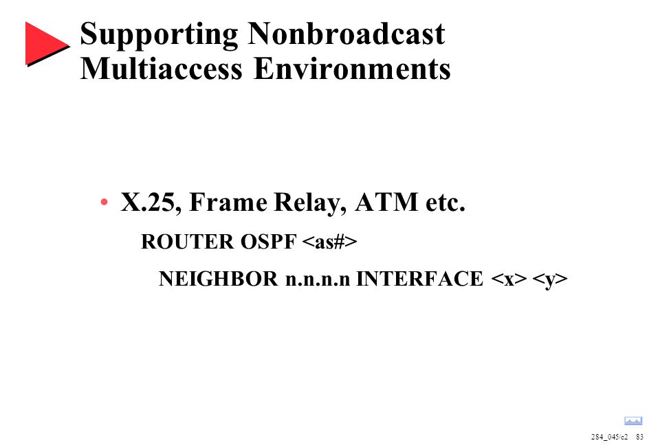 284_045/c283 Supporting Nonbroadcast Multiaccess Environments X.25, Frame Relay, ATM etc. ROUTER OSPF NEIGHBOR n.n.n.n INTERFACE