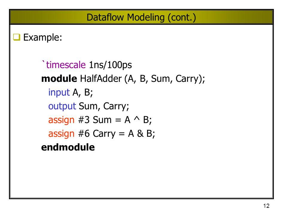 12 Dataflow Modeling (cont.)  Example: `timescale 1ns/100ps module HalfAdder (A, B, Sum, Carry); input A, B; output Sum, Carry; assign #3 Sum = A ^ B