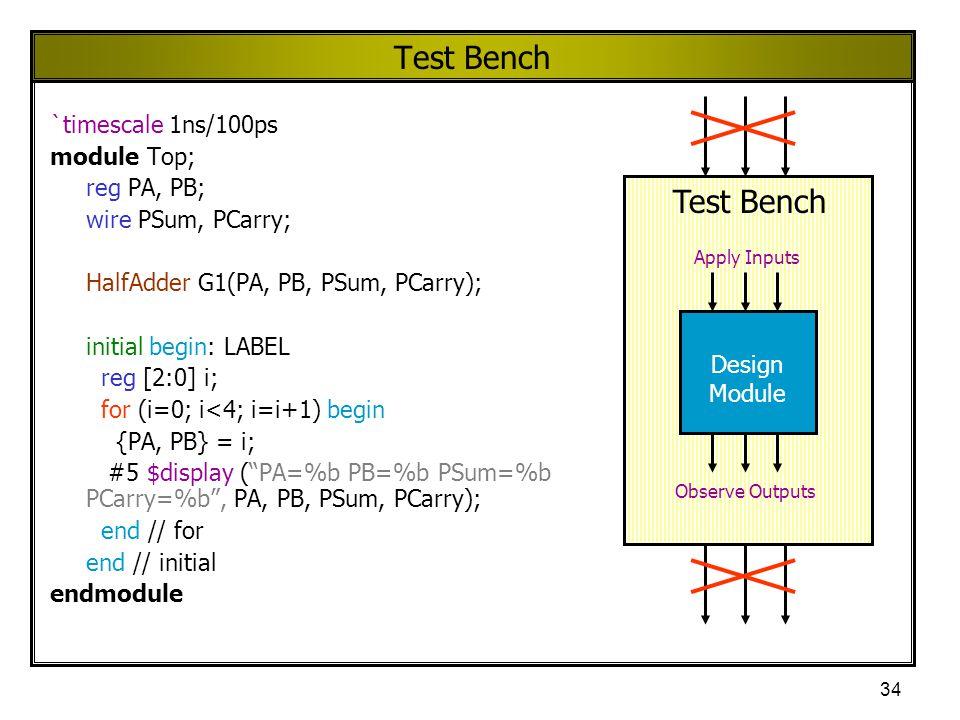 34 Test Bench `timescale 1ns/100ps module Top; reg PA, PB; wire PSum, PCarry; HalfAdder G1(PA, PB, PSum, PCarry); initial begin: LABEL reg [2:0] i; fo