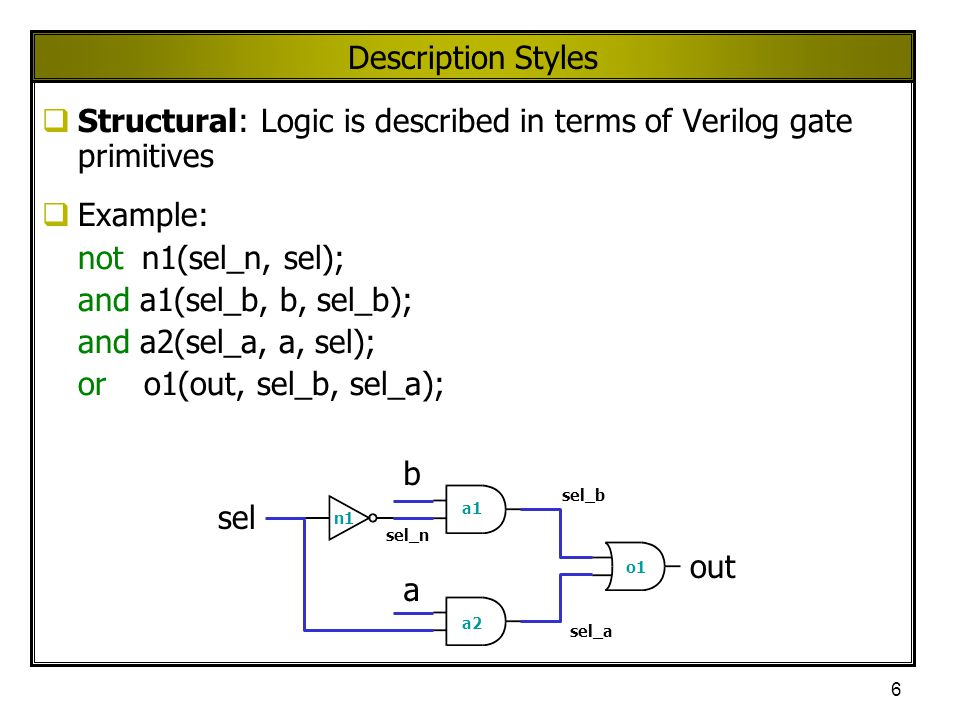 6 Description Styles  Structural: Logic is described in terms of Verilog gate primitives  Example: not n1(sel_n, sel); and a1(sel_b, b, sel_b); and