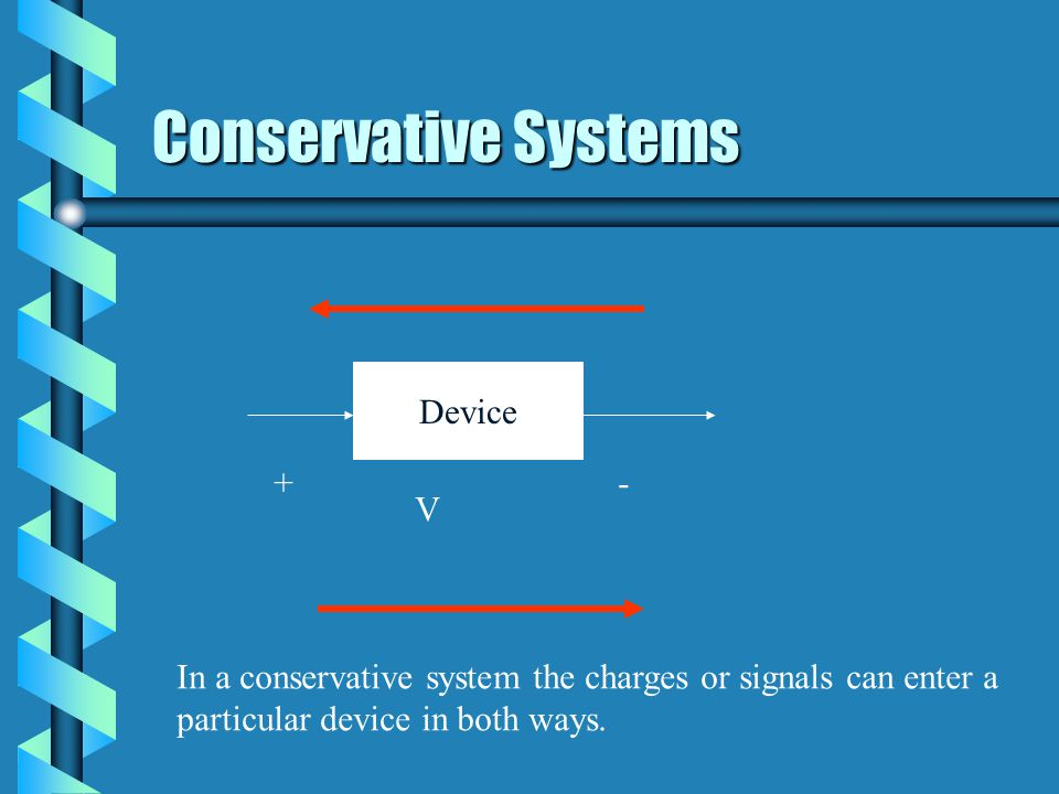 Conservative Systems Device +- V In a conservative system the charges or signals can enter a particular device in both ways.