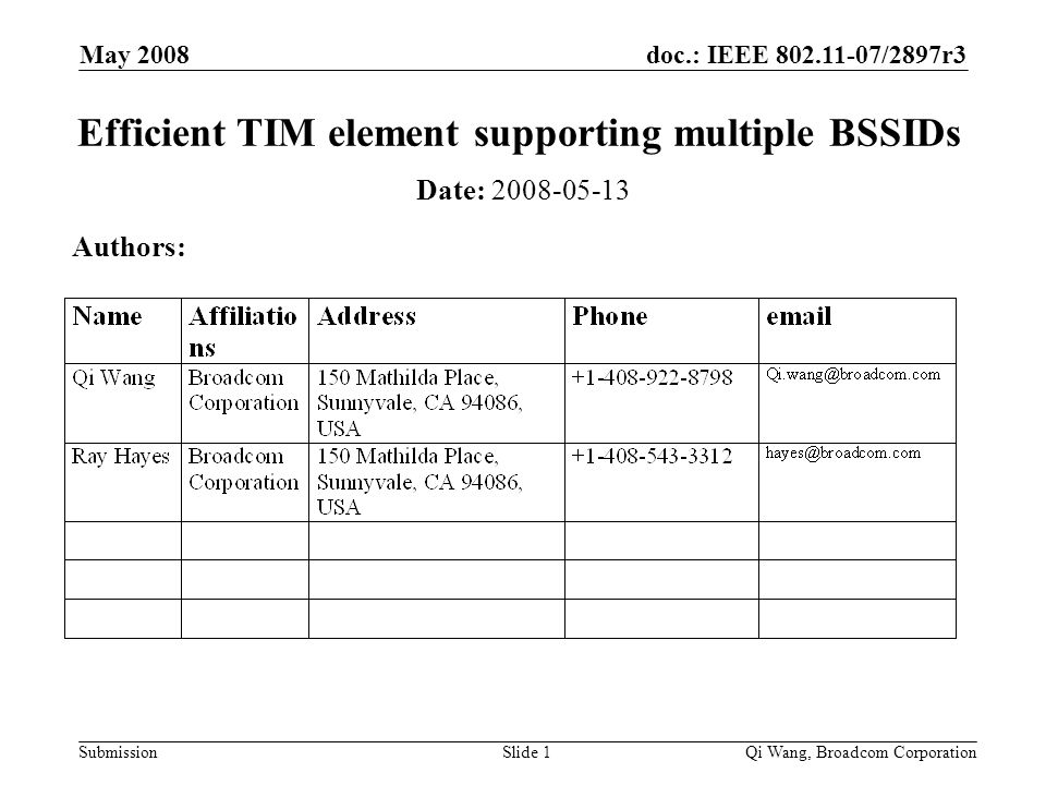 doc.: IEEE 802.11-07/2897r3 Submission May 2008 Qi Wang, Broadcom CorporationSlide 1 Efficient TIM element supporting multiple BSSIDs Date: 2008-05-13 Authors: