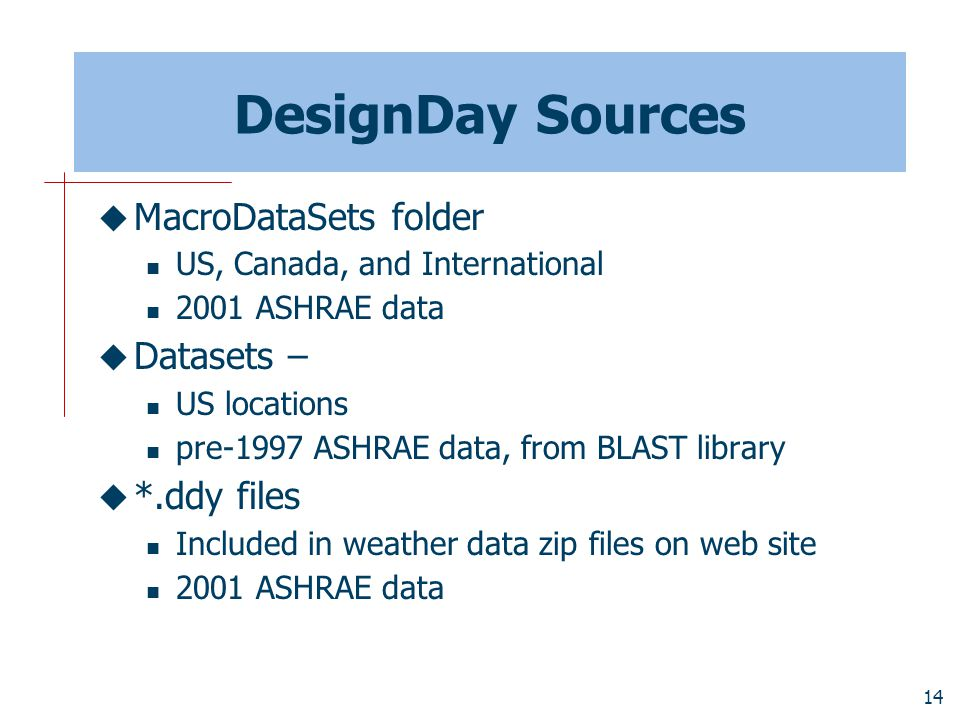 14 DesignDay Sources  MacroDataSets folder US, Canada, and International 2001 ASHRAE data  Datasets – US locations pre-1997 ASHRAE data, from BLAST library  *.ddy files Included in weather data zip files on web site 2001 ASHRAE data