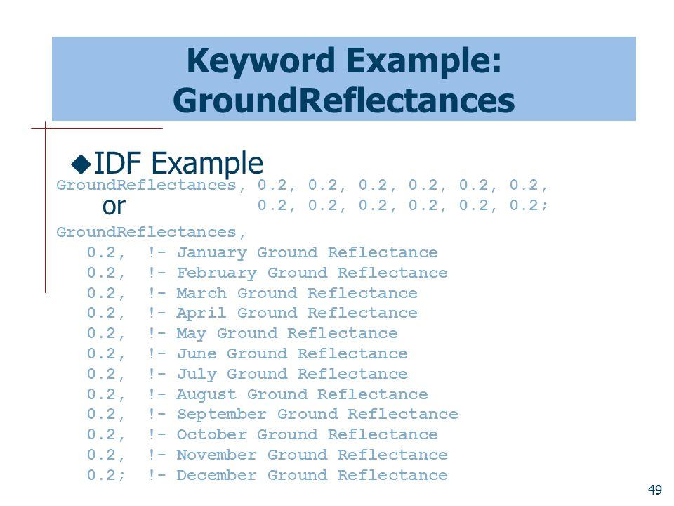 49 Keyword Example: GroundReflectances  IDF Example or GroundReflectances, 0.2, !- January Ground Reflectance 0.2, !- February Ground Reflectance 0.2, !- March Ground Reflectance 0.2, !- April Ground Reflectance 0.2, !- May Ground Reflectance 0.2, !- June Ground Reflectance 0.2, !- July Ground Reflectance 0.2, !- August Ground Reflectance 0.2, !- September Ground Reflectance 0.2, !- October Ground Reflectance 0.2, !- November Ground Reflectance 0.2; !- December Ground Reflectance GroundReflectances, 0.2, 0.2, 0.2, 0.2, 0.2, 0.2, 0.2, 0.2, 0.2, 0.2, 0.2, 0.2;
