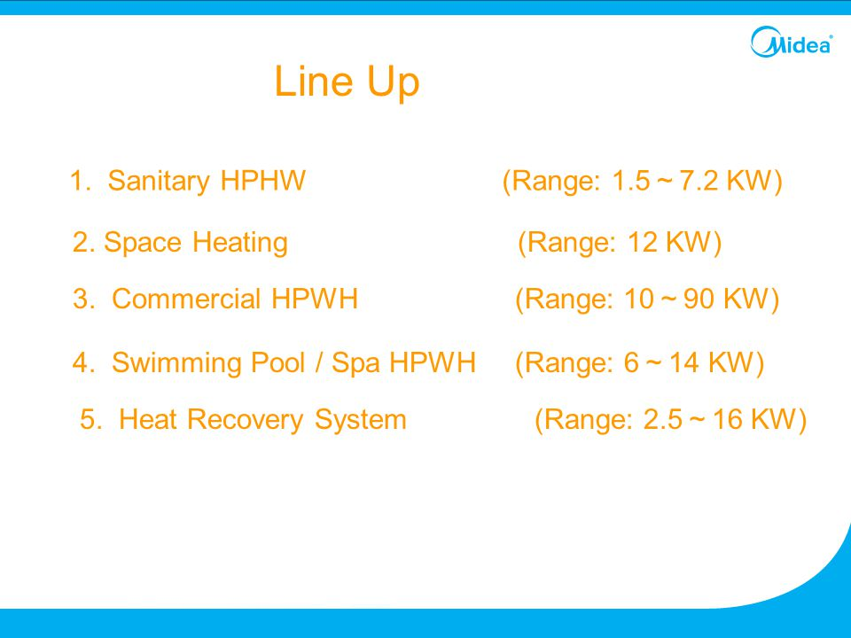 1. Sanitary HPHW (Range: 1.5 ~ 7.2 KW) 2. Space Heating (Range: 12 KW) 3. Commercial HPWH (Range: 10 ~ 90 KW) 4. Swimming Pool / Spa HPWH (Range: 6 ~