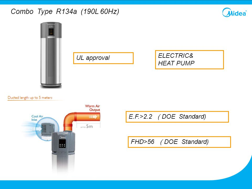Combo Type R134a (190L 60Hz) E.F.>2.2 ( DOE Standard) FHD>56 ( DOE Standard) ELECTRIC& HEAT PUMP UL approval