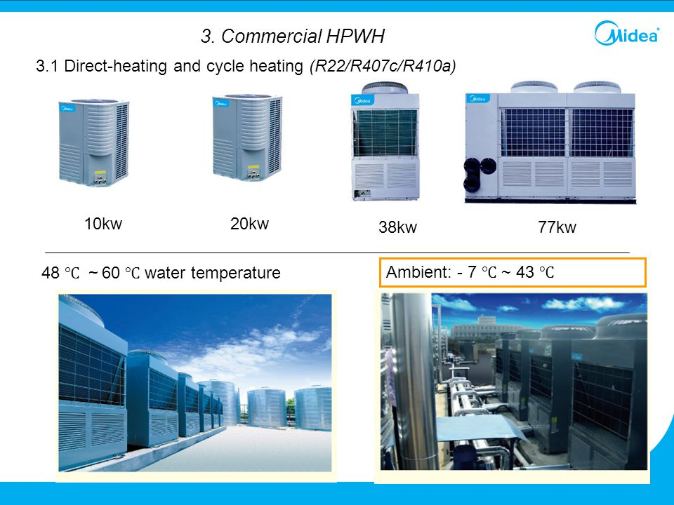 10kw20kw 38kw77kw 3. Commercial HPWH Ambient: - 7 ℃ ~ 43 ℃ 48 ℃ ~ 60 ℃ water temperature 3.1 Direct-heating and cycle heating (R22/R407c/R410a)