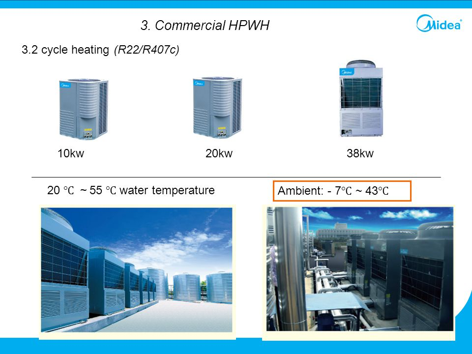 38kw 20 ℃ ~ 55 ℃ water temperature Ambient: - 7 ℃ ~ 43 ℃ 3.2 cycle heating (R22/R407c) 20kw10kw 3. Commercial HPWH