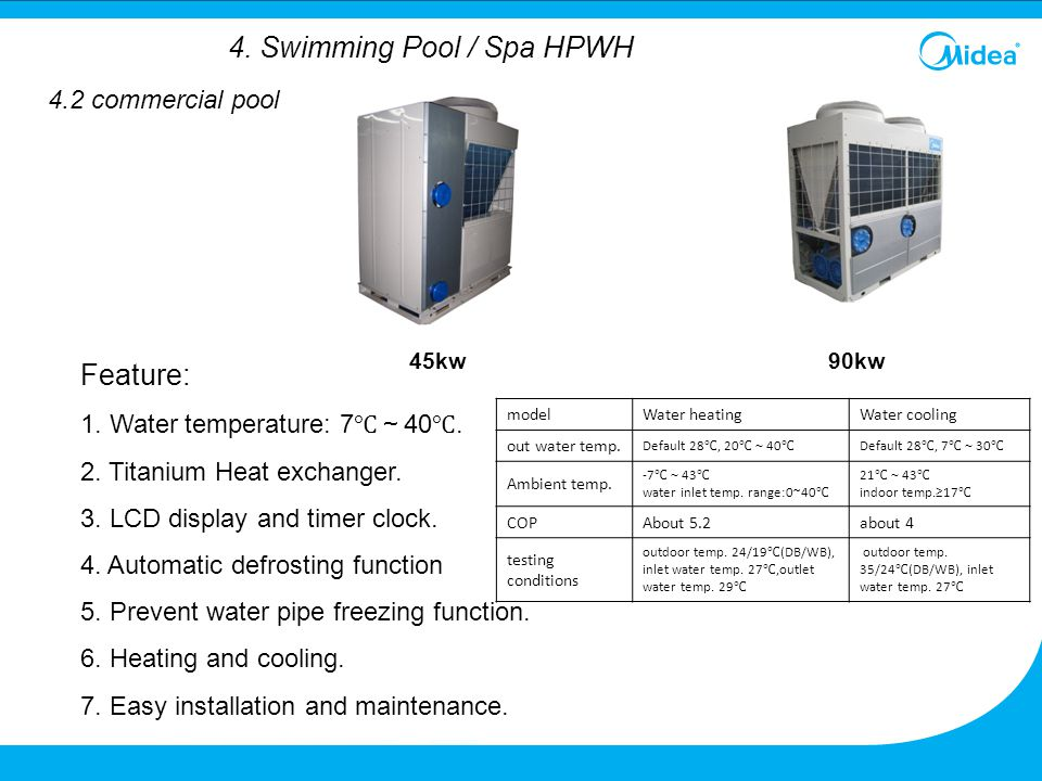 90kw Feature: 1. Water temperature: 7 ℃~ 40 ℃. 2. Titanium Heat exchanger. 3. LCD display and timer clock. 4. Automatic defrosting function 5. Prevent