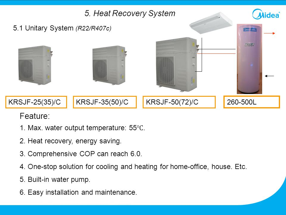 KRSJF-50(72)/C Feature: 1. Max. water output temperature: 55 ℃. 2. Heat recovery, energy saving. 3. Comprehensive COP can reach 6.0. 4. One-stop solut