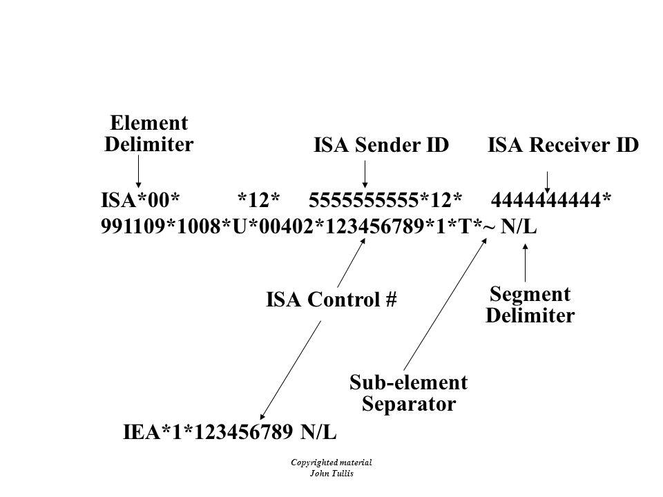 Copyrighted material John Tullis EDI - Envelopes - ISA/IEA Element Delimiter Segment Delimiter ISA*00* *12* 5555555555*12* 4444444444* 991109*1008*U*0