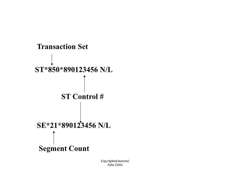 Copyrighted material John Tullis EDI - Envelopes - ST/SE ST*850*890123456 N/L ST Control # Transaction Set SE*21*890123456 N/L Segment Count