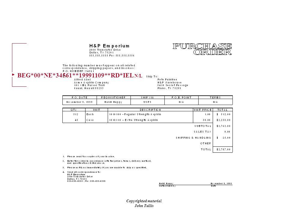 Copyrighted material John Tullis BEG*00*NE*34561**19991109**RD*IEL N/L Purchase Order