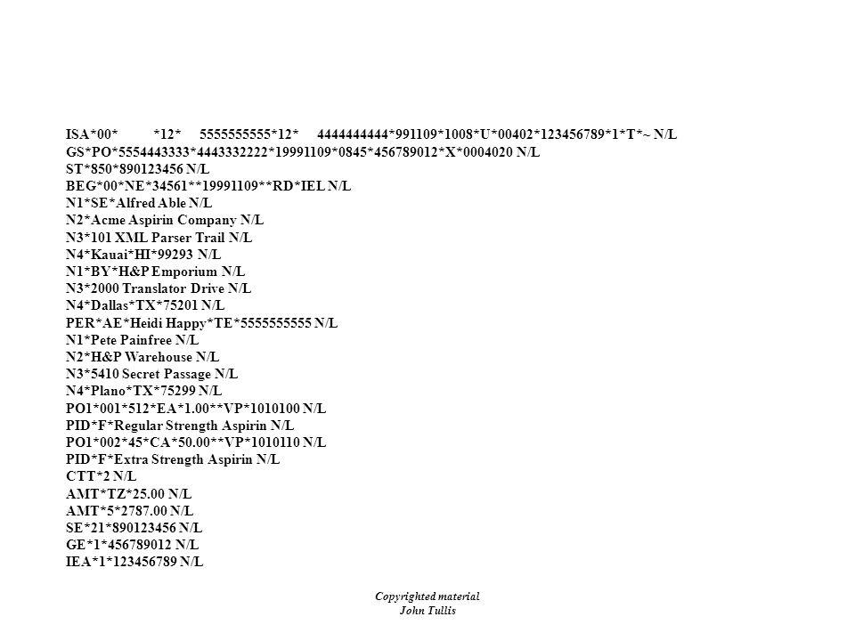Copyrighted material John Tullis EDI - Purchase Order (850) ISA*00* *12* 5555555555*12* 4444444444*991109*1008*U*00402*123456789*1*T*~ N/L GS*PO*55544