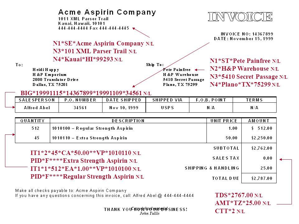 Copyrighted material John Tullis N1*SE*Acme Aspirin Company N/L N3*101 XML Parser Trail N/L N4*Kauai*HI*99293 N/L BIG*19991115*14367899*19991109*34561