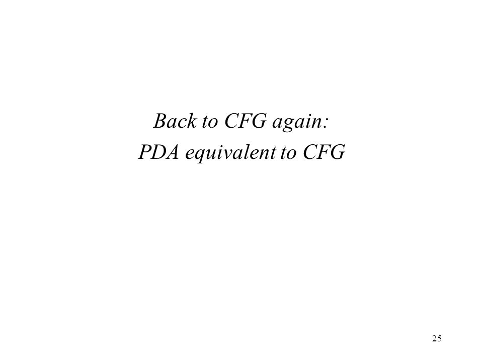 Back to CFG again: PDA equivalent to CFG 25