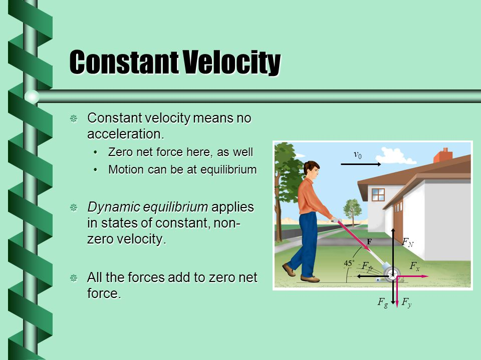 Constant Velocity  Constant velocity means no acceleration.