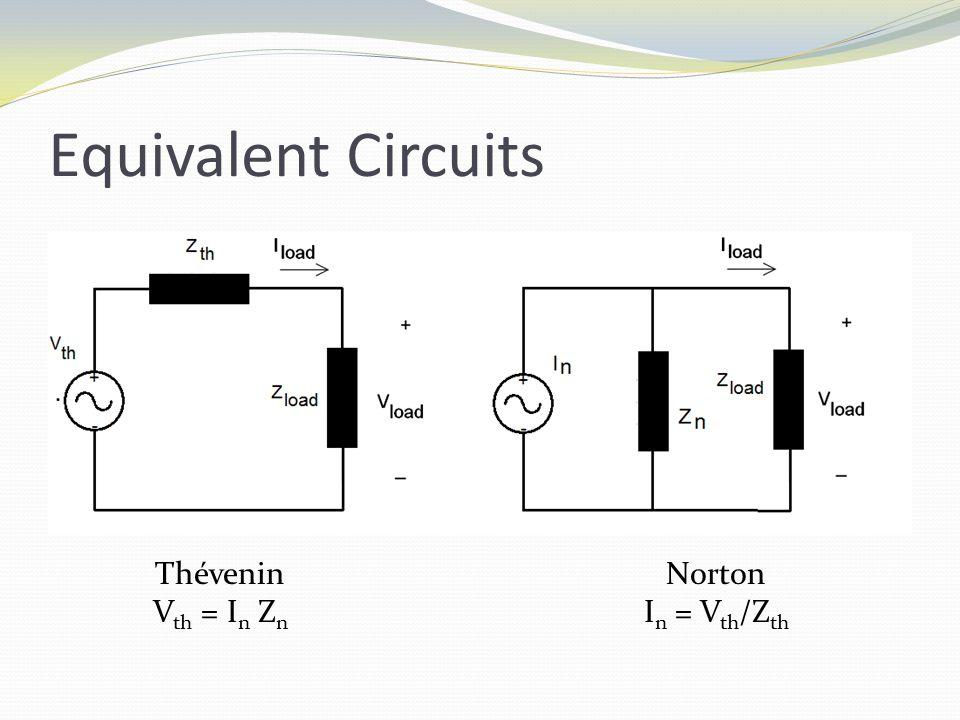 Equivalent Circuits Thévenin V th = I n Z n Norton I n = V th /Z th