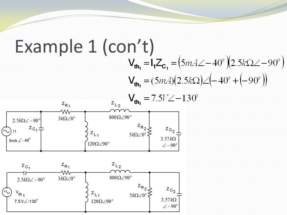 Example 1 (con't)