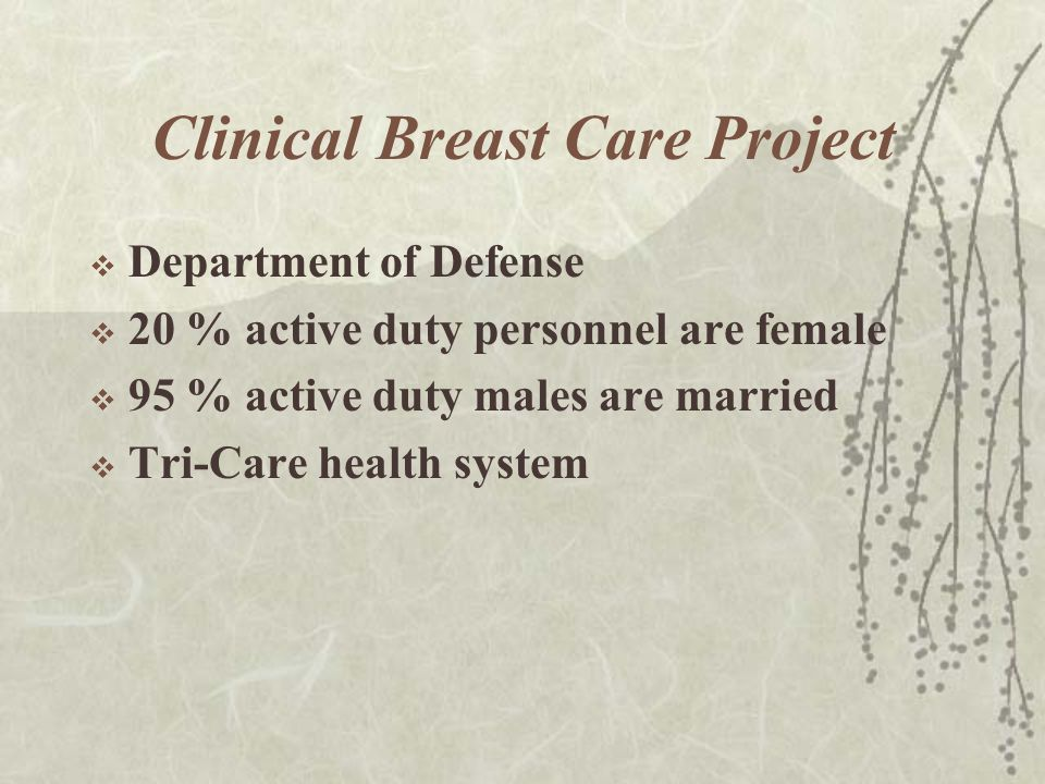 Clinical Breast Care Project  Department of Defense  20 % active duty personnel are female  95 % active duty males are married  Tri-Care health system