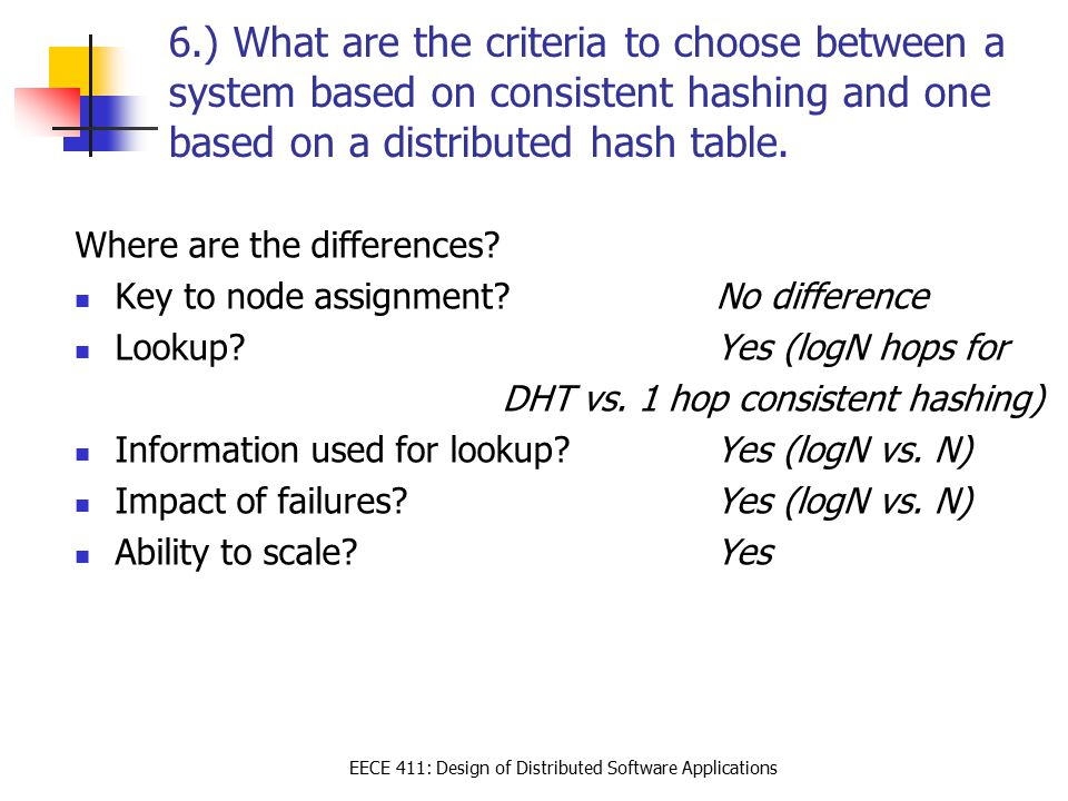 EECE 411: Design of Distributed Software Applications 6.) What are the criteria to choose between a system based on consistent hashing and one based o