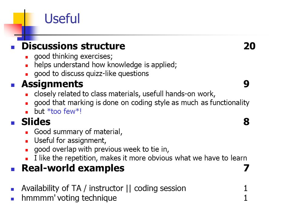 EECE 411: Design of Distributed Software Applications Useful Discussions structure20 good thinking exercises; helps understand how knowledge is applied; good to discuss quizz-like questions Assignments 9 closely related to class materials, usefull hands-on work, good that marking is done on coding style as much as functionality but *too few*.