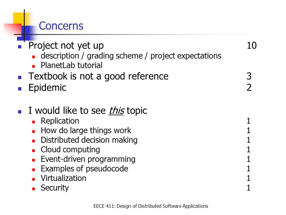 EECE 411: Design of Distributed Software Applications Suggestions Sample quizes/clearer idea on quiz expectations8 More sample questions / more sample problems7 Questions with answers (summarize discussions in slides)6 More detailed explanation within the slides3 Make slides available earlier2 Discussion board 2 Fixed course structure 1 More structured relationships between topics1 More coding sessions1 More short assignments 1 Make sure that students without adequate coding experience can not take the class 1 Results of a design rather than covering a bit about each1 Instructor-assigned groups (rather than based on student preference)1 Good on quiz one: lots of questions 1 Provide grading scheme beforehand 1 Provide more of a big picture / Better organization of content / Roadmap1 Tighter deadlines around project so that there is no cramming …1 Assignments that include written parts 1 if we learn about gossip should we have a chance to implement?1 More quantitative discussion questions1 Go slower 1 Be more clear in describing concepts 1 Grading scheme: Best 2 out of 3 three quizes1