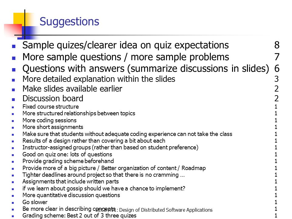 EECE 411: Design of Distributed Software Applications Suggestions Sample quizes/clearer idea on quiz expectations8 More sample questions / more sample problems7 Questions with answers (summarize discussions in slides)6 More detailed explanation within the slides3 Make slides available earlier2 Discussion board 2 Fixed course structure 1 More structured relationships between topics1 More coding sessions1 More short assignments 1 Make sure that students without adequate coding experience can not take the class 1 Results of a design rather than covering a bit about each1 Instructor-assigned groups (rather than based on student preference)1 Good on quiz one: lots of questions 1 Provide grading scheme beforehand 1 Provide more of a big picture / Better organization of content / Roadmap1 Tighter deadlines around project so that there is no cramming …1 Assignments that include written parts 1 if we learn about gossip should we have a chance to implement 1 More quantitative discussion questions1 Go slower 1 Be more clear in describing concepts 1 Grading scheme: Best 2 out of 3 three quizes1