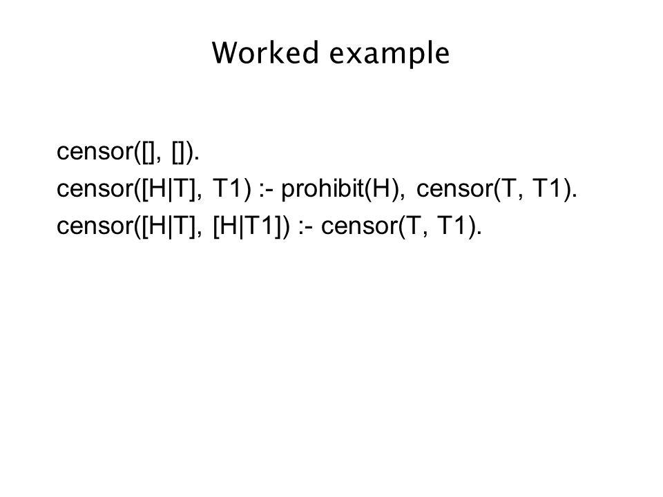 Worked example censor([], []). censor([H|T], T1) :- prohibit(H), censor(T, T1).