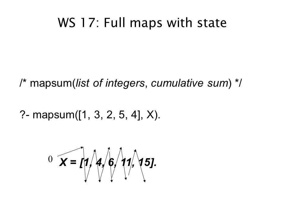 WS 17: Full maps with state /* mapsum(list of integers, cumulative sum) */ ?- mapsum([1, 3, 2, 5, 4], X).