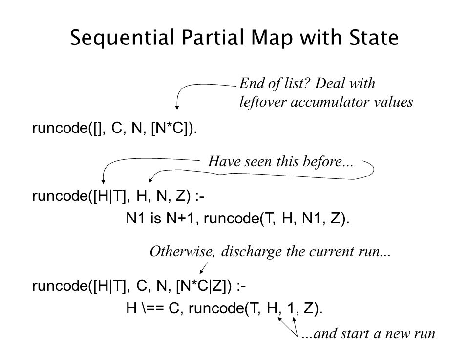 Sequential Partial Map with State runcode([], C, N, [N*C]).