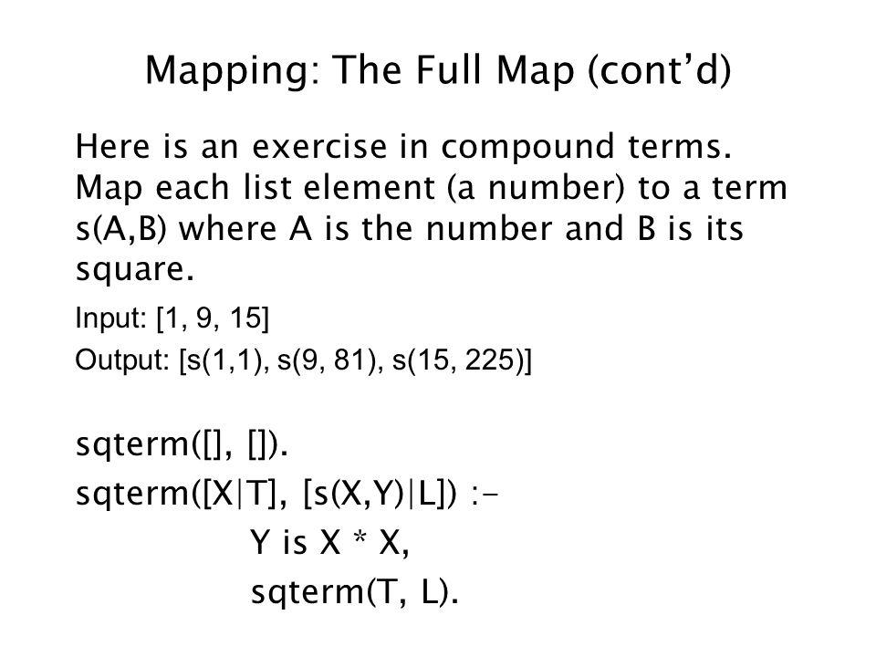 General Scheme for Full Map /* fullmap(In, Out) */ fullmap([], []).