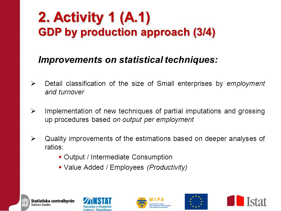 2. Activity 1 (A.1) GDP by production approach (3/4) Improvements on statistical techniques:  Detail classification of the size of Small enterprises